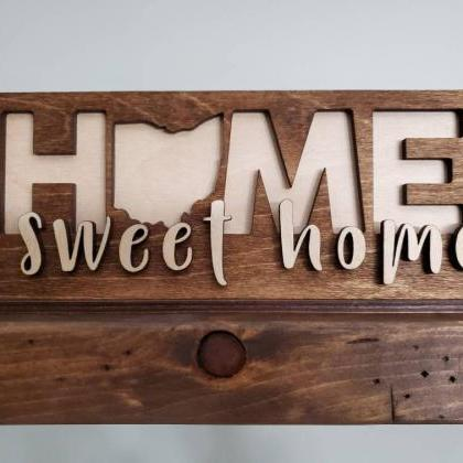 Home Sweet Home State Sign, Bookshe..