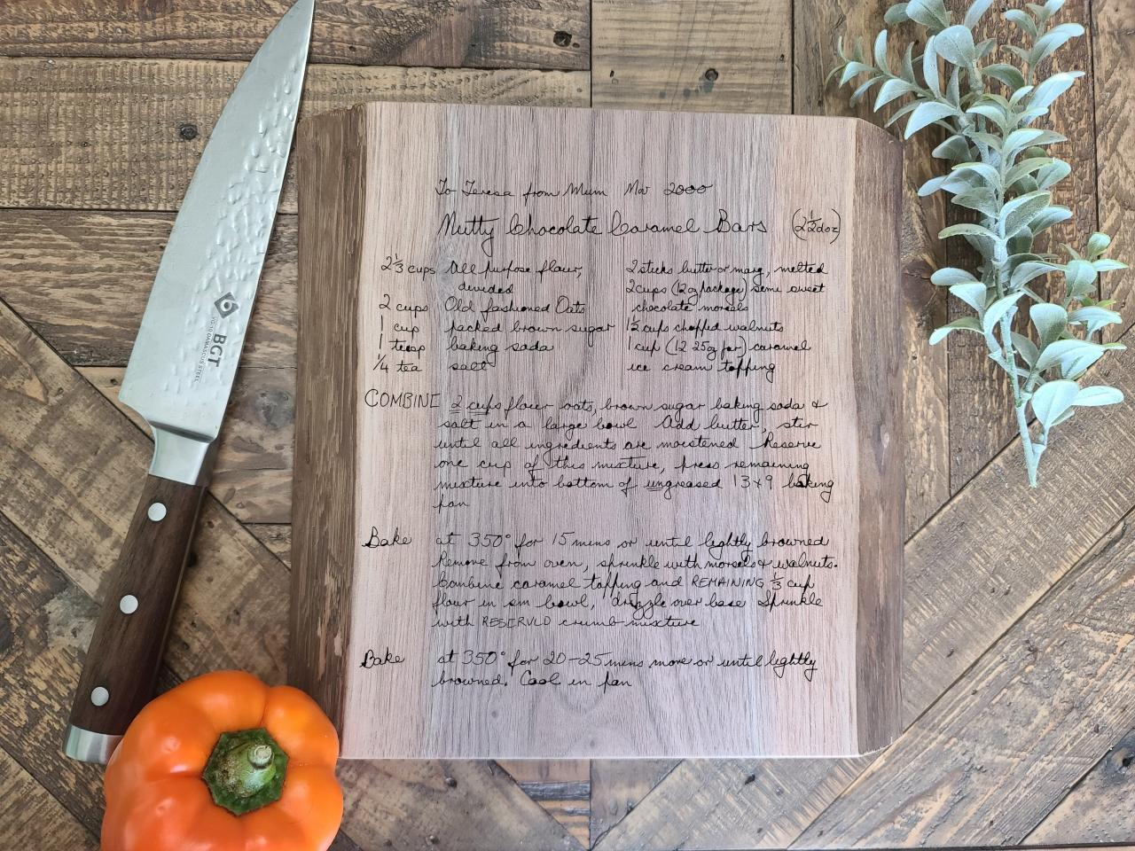 Walnut Cutting Board, Live Edge Cutting Board, Kitchen Cutting Board, Old Recipe Cutting Board, Wooden Chopping Boards, Fathers Day Gift