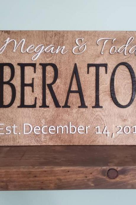 Family Name Sign - Wedding Sign - Last Name 3D Sign - Custom, Personalized Wood Sign