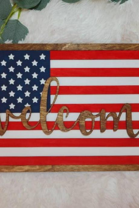 DIY American Flag Sign | 4th of July Party | DIY Sign | Craft Project | At Home Craft | Craft Kit | Unfinished Project | Fourth of July