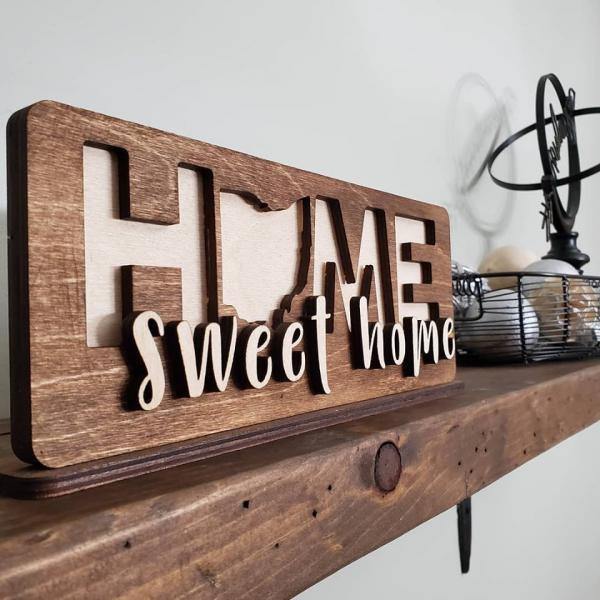 Home Sweet Home State Sign, Bookshelf Art, 3D Sign, Home Decor, Housewarming Gift Idea