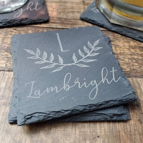 Personalized slate coasters, wedding gift, housewarming gift, holiday gift, gifts for couple